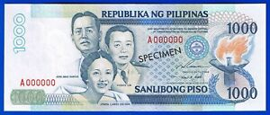 Philippines P1000 Specimen Banknote Ramos-Singson UNC