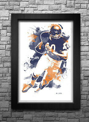 GALE SAYERS watercolor art print/poster CHICAGO BEARS FREE S&H