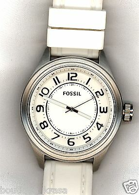 NWT Fossil BQ1046 Men's Asher White Silicone Strap White Dial Watch Authentic