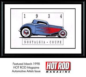 Garage Art Print Hot Rod Ford Coupe print signed by artist designer Tim Woods