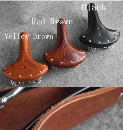 Genuine Leather Vintage Spring Full Grain Bicycle Saddle Retro Bike Seat Cushion