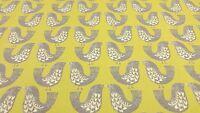 Scandi Birds Kiwi Green Curtain Craft Upholstery Designer Cotton Fabric