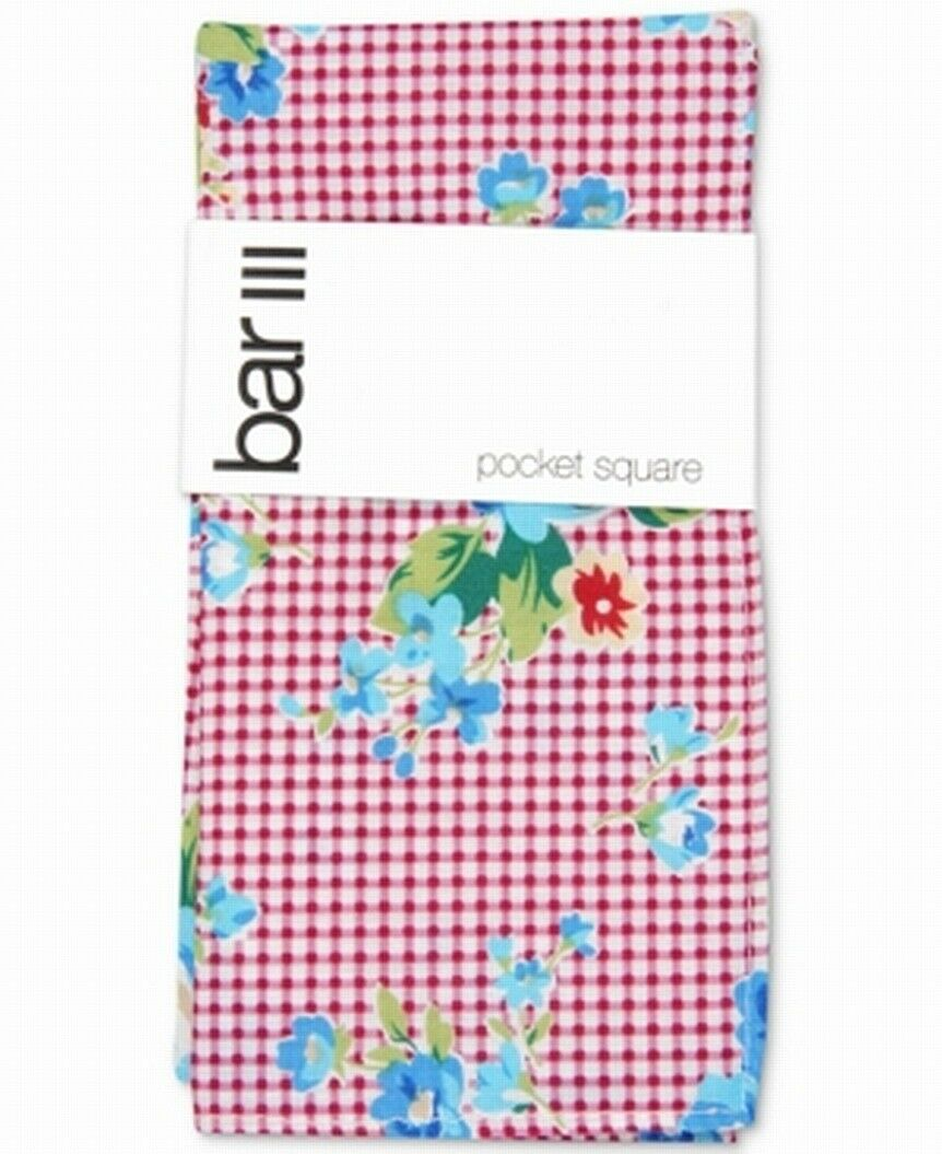 Bar III Men's Pocket Square Red Blossom Gingham Plaid Floral Accessory #353
