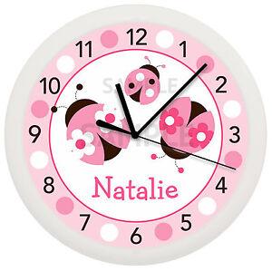 Image Is Loading Pink Ladybug Wall Clock Nursery Decor Children 039