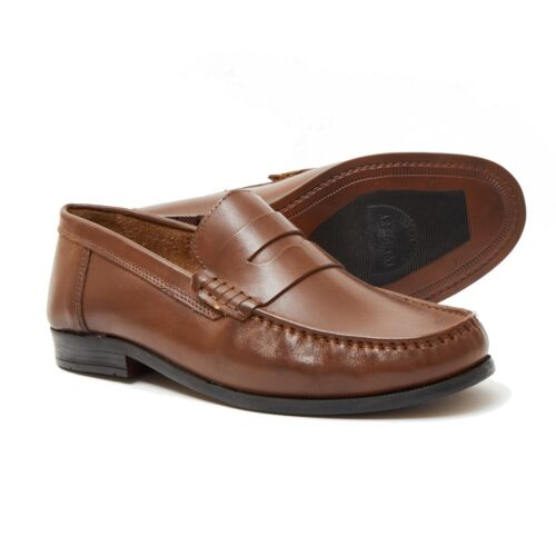 Lucini Mens Leather Smart Casual Loafers Wedding Slip on Shoes UK 8 to 15 Size