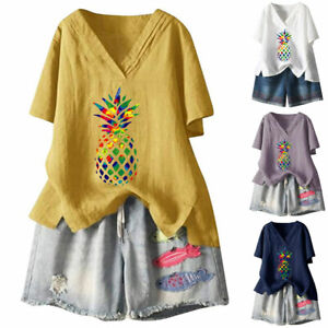 Womens Pineapple Short Sleeve T Shirt Casual Summer Lady Tunic Loose Cotton Tops
