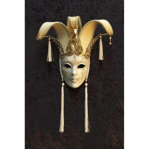 Maschera-Di-Venezia-IN-Miniatura-Jolly-Per-IN-Carta-Cartapesta-Metallo-22464