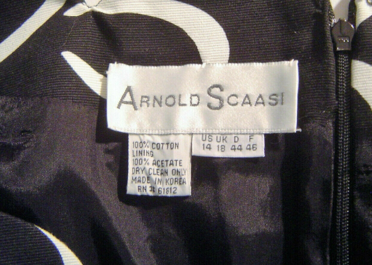 Arnold Scaasi Sheath Dress Dramatic Black Floral … - image 4