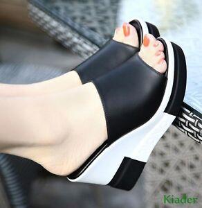 Womens-Peep-Toe-High-Wedge-High-Heels-Platform-Summer-Slippers-Sandals-Shoes