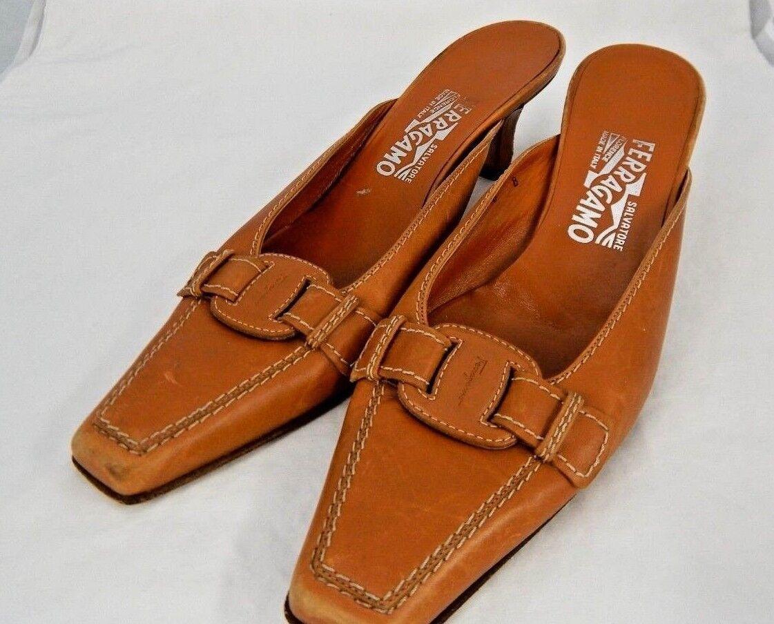 FERRAGAMO Damenschuhe Caramel Leder Square Toe Mules Heels Schuhes  Sz8/B Made  Schuhes 464960