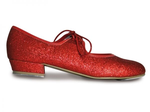 NEW GIRLS/LADIES RUBY RED GLITTER TAP SHOES ALL SIZES