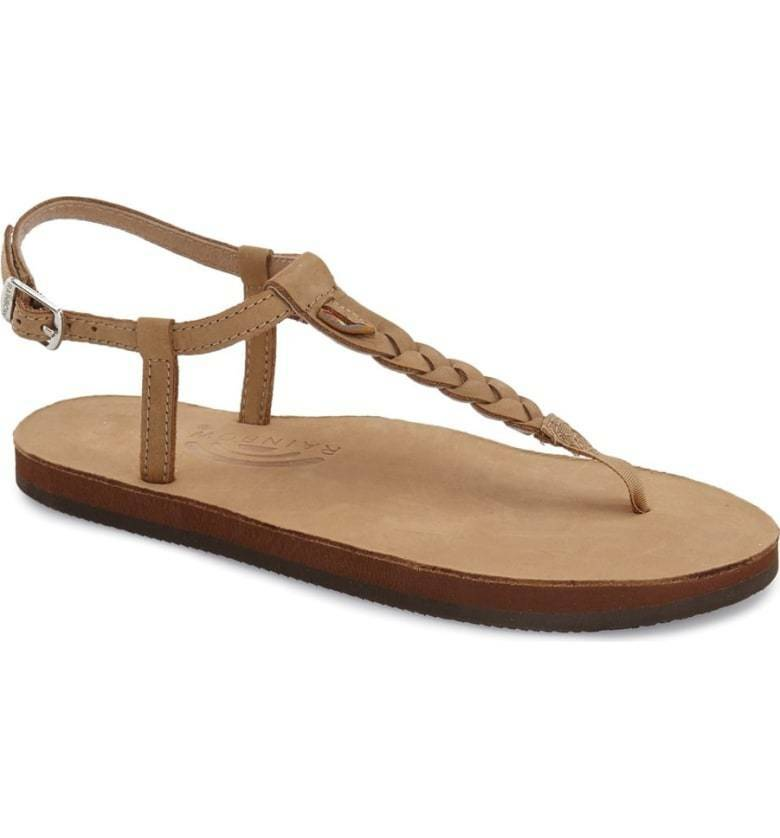 NEW 7.5 - 8.5 Large Rainbow T-Street Sierra Brown Leather Flip Flop Sandals