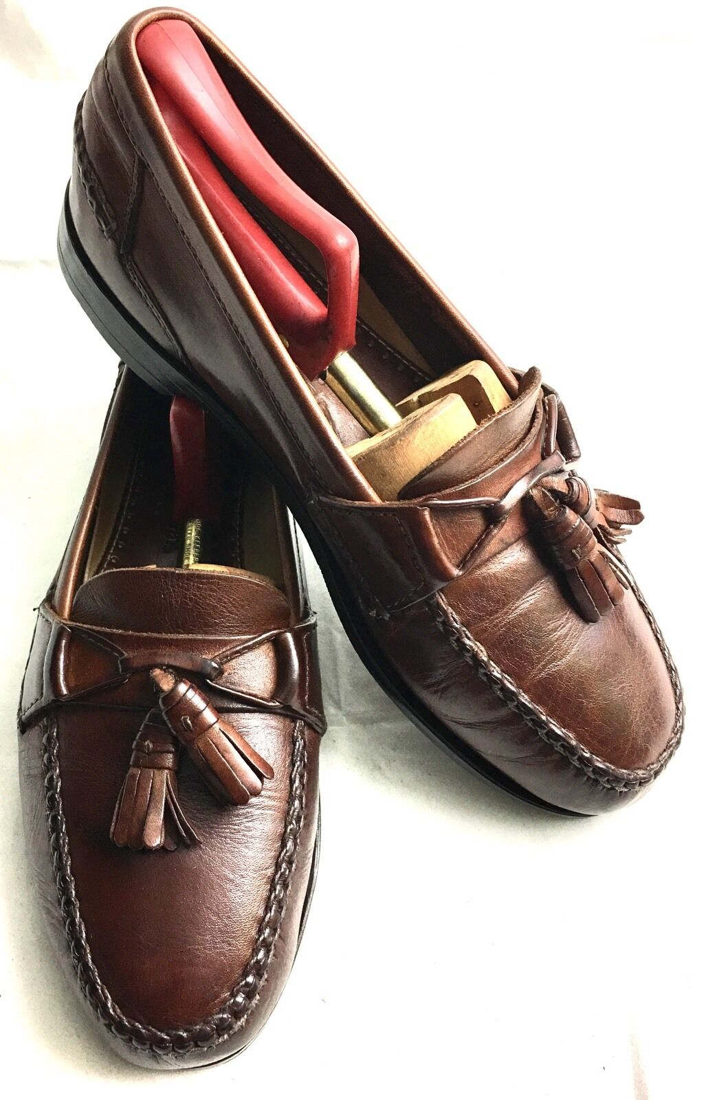 Johnston & Murphy Passport Loafers Dress Casual Shoes Brown Leather Tassels 10 M