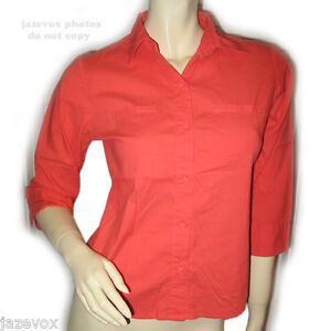 af21b6bc MOSSIMO STRETCH Womens Button Down Shirt Top sz XS 3/4 Sleeve Collar ...