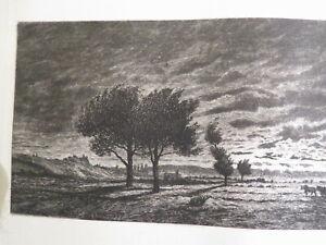 Ecole FRANCAISE XIX EAU FORTE PAYSAGE CREPUSCULE DELATRE DAUBIGNY BARBIZON 1875