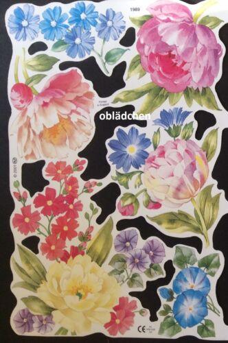toll auch zum Basteln 3D # GLANZBILDER # MLP 1989 sehr schöner Blumen Bogen