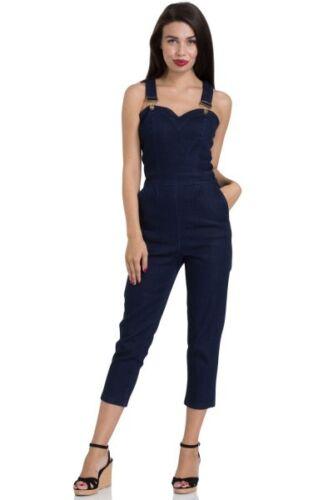 VOODOO VIXEN Connie Capri Denim Overall Dungaree Jumpsuit Bleu PIN UP S M L XL