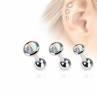 16g Cartilage Body Jewelry With Aurora Gems Pack Of 3