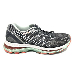 Asics-Gel-Nimbus-19-Running-Shoes-Womens-Size-7-Black-White-Blue-Sneakers-T750N
