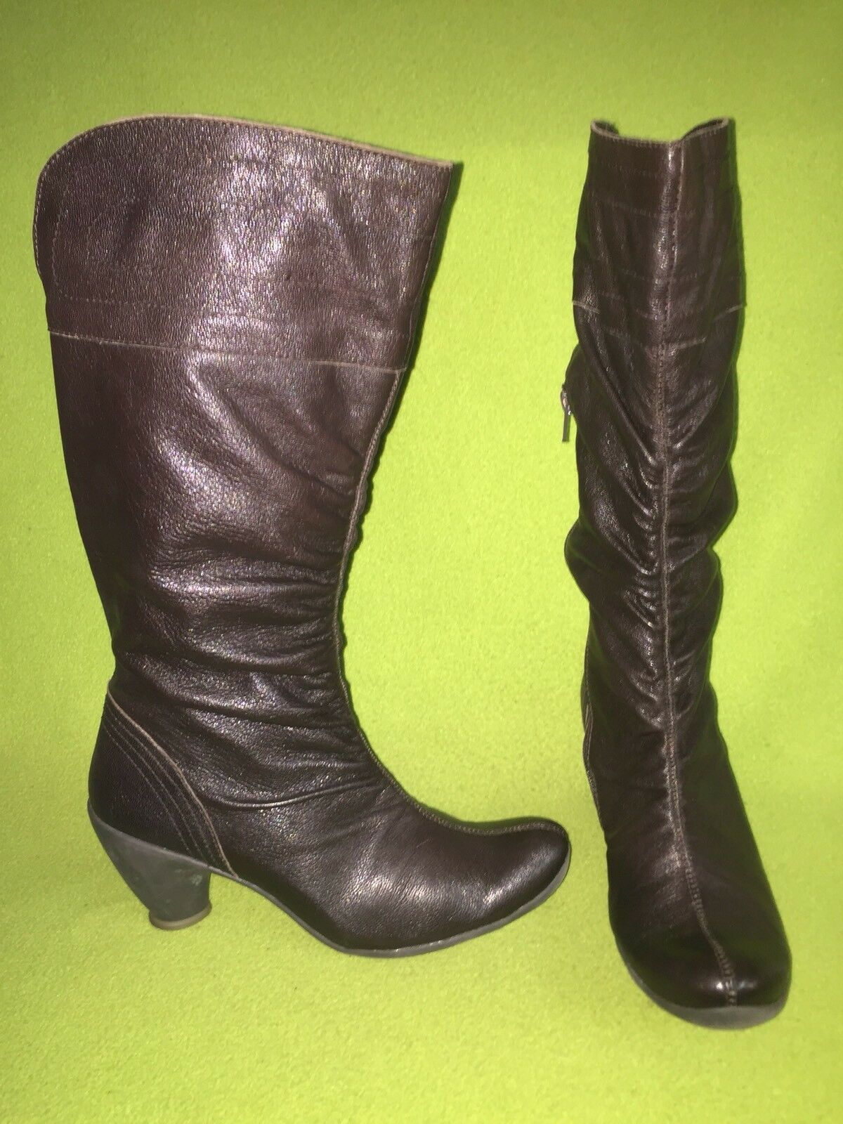 Brown Fly London Knee-High Boots with Side Vent Zipper 7.5 38