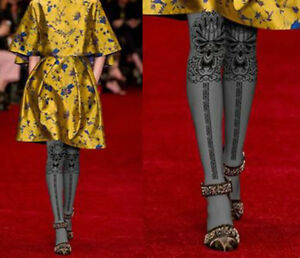Ladies-Modern-Art-Nouveau-Design-Grey-Tights-Pantyhose-Regular-Size-Event-Gift