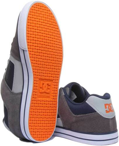 Dc Shoes Pure Youth Leather Suede Skate Trainers In Grey Navy UK Sizes 10-3