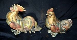 Vintage-Pair-GSC-Hen-Rooster-Figures-Gold-Turquoise-Red-Gilding