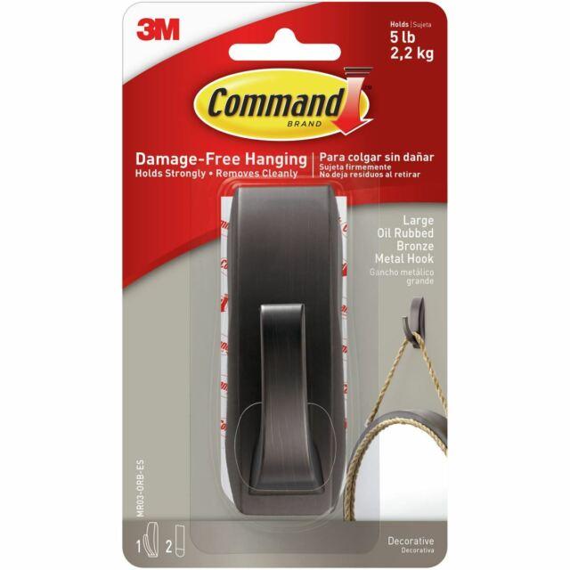 Command Modern Reflections Metal Hook 1/Pkg-1 Bronze Hook & 2 Strips -MR03ORBE