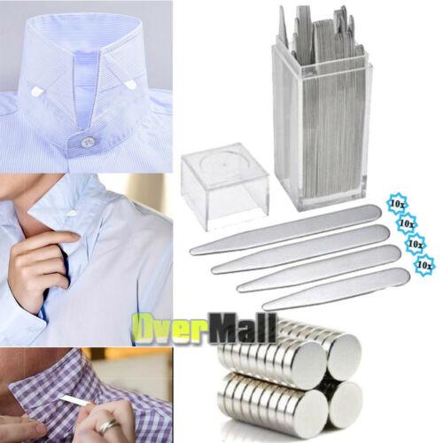 Newest 40 Metal Collar Stays 10 Magnets For Men Shirts 4 Various Sizes W// Box