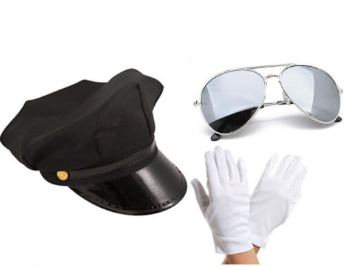 Chauffeur Cap Limo Taxi Driver Theme Hat White Gloves Aviators Set Adult Unisex