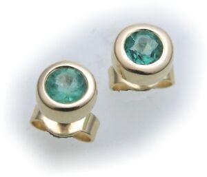Ohrringe-Stecker-Smaragd-echt-Gold-585-Damen-Ohrstecker-14kt-Gelbgold-gruen