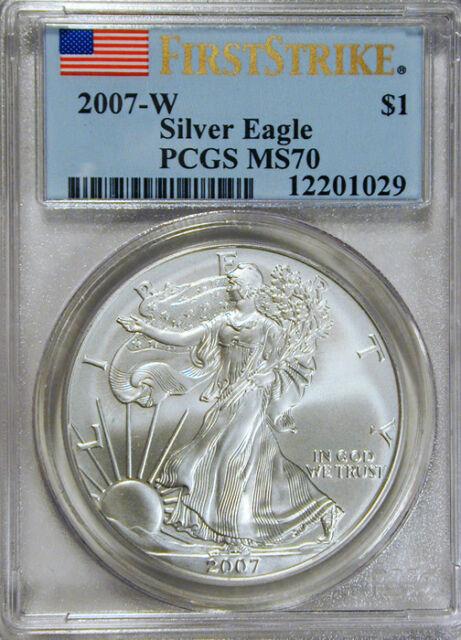 2007-W Silver Eagle $1 PCGS MS70 FLAG FIRST STRIKE