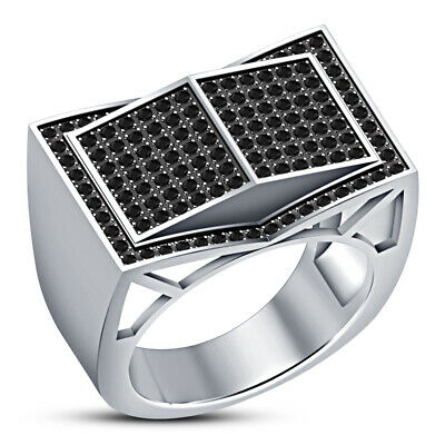 2 Ct Black Diamond Men S White Gold Over Square Style Engagement Pinky Ring Band Ebay