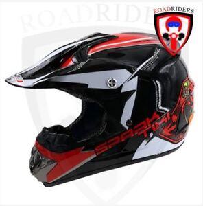 Roadriders' Black Spark Tiki HNJ Off Road Motocross Helmet