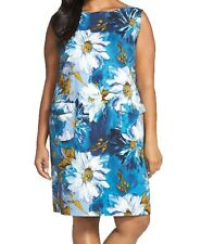 [26 91]Tahari By ASL Flap Pocket Floral Print Shift Dress Lake Blue Plus 22W