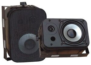 NEW-Pyle-PDWR40B-Pair-of-400-Watt-5-25-Indoor-Outdoor-Waterproof-Speakers-Black