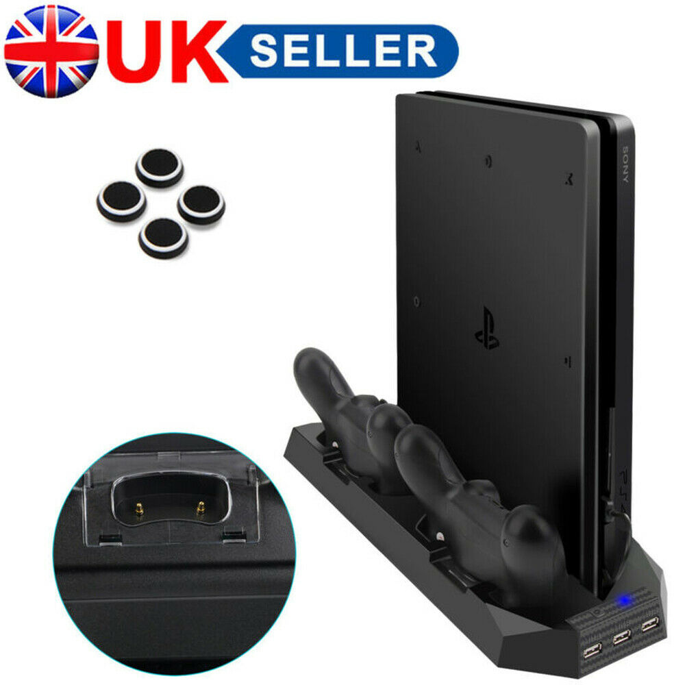 Vertical Stand for PS4 Slim Cooling Fan PS4 Dual Controller Charging Dock UK