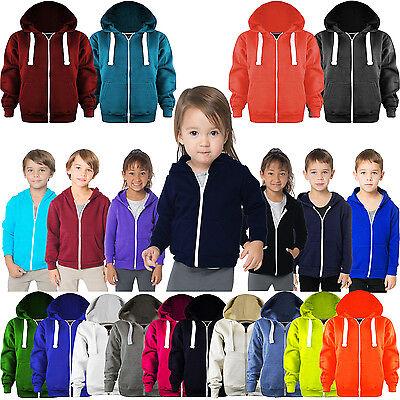 New in Unisex Kids Girls Boys Plain Fleece Zip-up Hoodie Hoody Sweatshirt top Ages 1-13 Available in Black Purple Royal Blue and Wine Charcoal Hot Pink Navy
