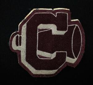 """VINTAGE 1960'S-1970'S SCHOOL CHEER LETTER MAROON AND GRAY PATCH 7 1/2"""" X 6 1/2"""""""