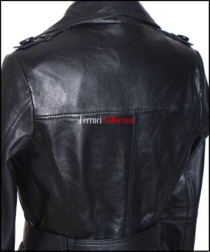 Venessa Ladies Black Womens Smart Casual Lambskin Leather Jacket Trench Coat