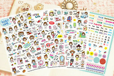 Cutest Girl Daily Life Stickers 4 Sheets For Diaries, Organizers & Day Planners