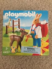 RARE 2004 PLAYMOBIL 4457 EASTER BUNNY With Backpack & Deer NEW Sealed In Box