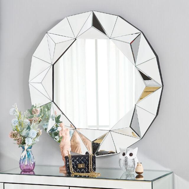 Abbyson Living Zen Round Wall Mirror Tm, Venetian Large Round Silver Wall Mirror