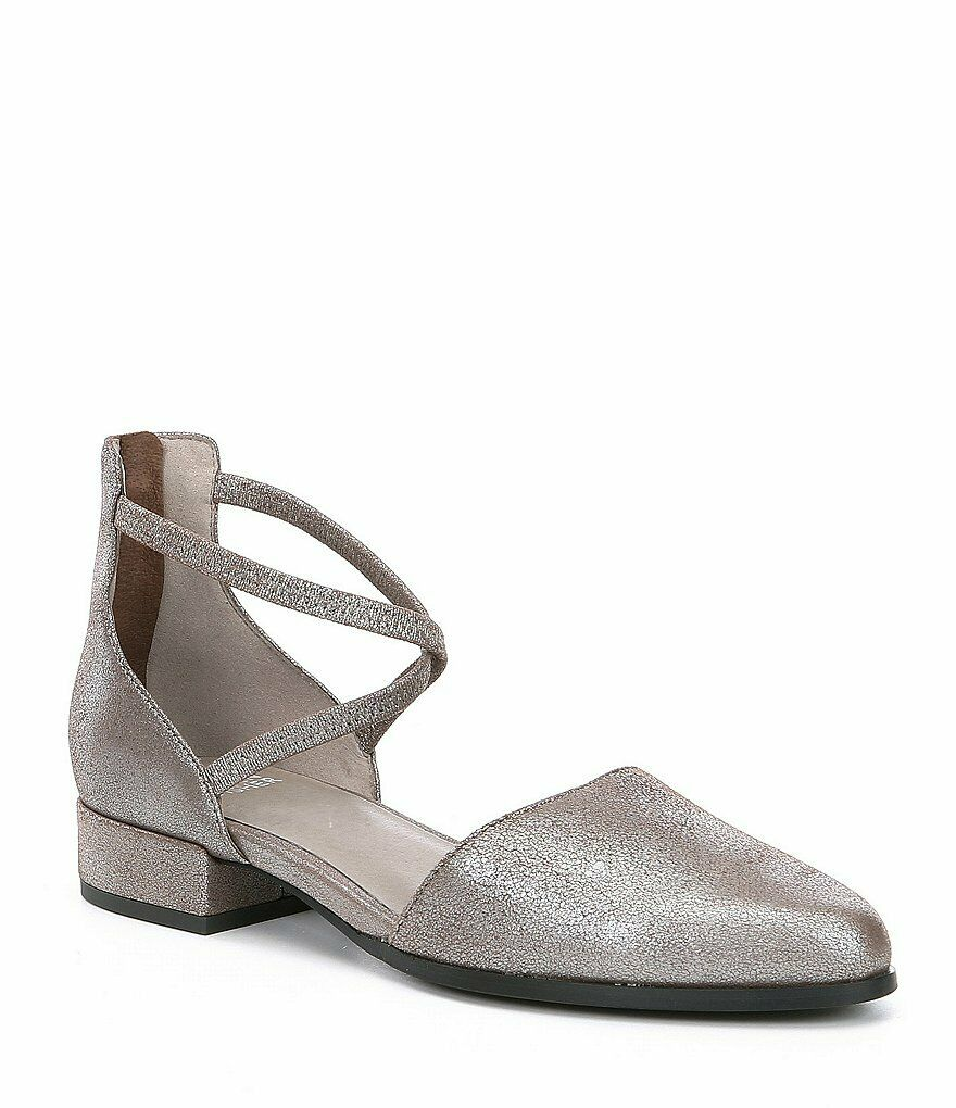 Eileen Fisher Lyton d'Orsay Flat Metallic Suede Leather Block Heel Sandal 9.5