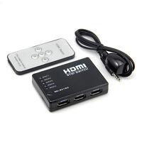 5 Port 1080P Video HDMI Switch Switcher Splitter for HDTV DVD PS3 +Hub IR Remote