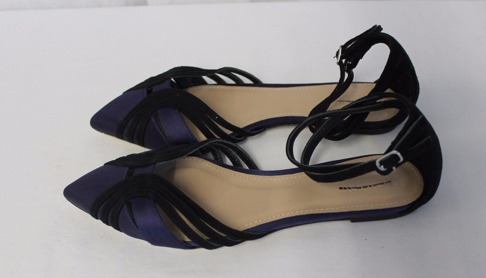 J CREW COLLECTION SUEDE AND SATIN ANKLE STRAP FLATS NAVY SIZE 6.5 E4670  198