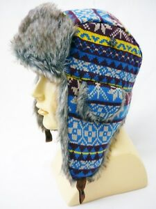 1e40de85348 Image is loading Mad-Bomber-Knit-Snowflake-Aviator-Beanie-Hat-Faux-