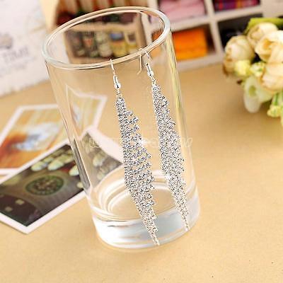 New Fashion Long Rhinestone Crystal Hook Dangle Earrings Women's Wedding Jewelry