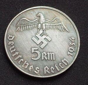 WW2-GERMAN-COLLECTORS-COIN-5-REICHSMARK-1934-ADOLF-HITLER-WWII