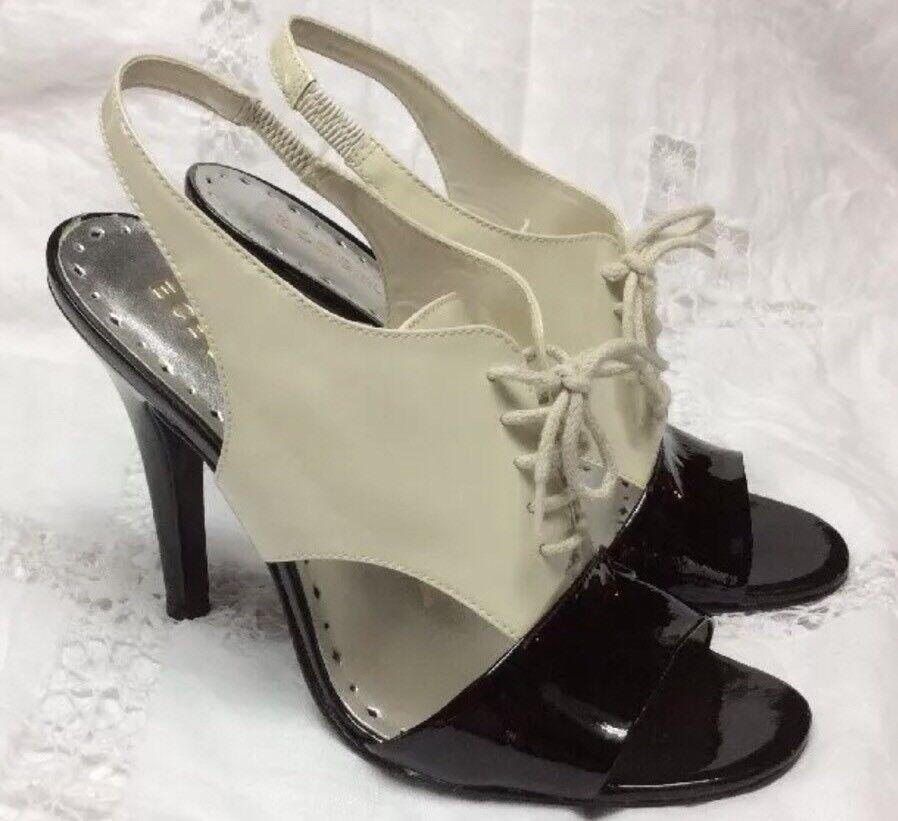 BCBG Black Ivory Open Toe Lace Up Slingback heels Size 7.5B